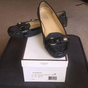 Coach Signature Black Canvas Loafers Size 9B